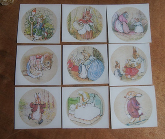 set of 9 iron on heart transfer fabric stickers -- Peter Rabbit