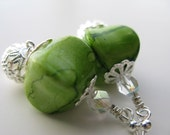 1/2 OFF Apple Martini Earrings - Apple Green Acrylic Pinched Cubes Faceted Clear Czech Crystal Glass Silver Plated