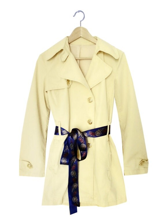 Breakfast at Tiffany's Buttercream Trench Coat with Golden Buttons and Blue Ribbon Belt