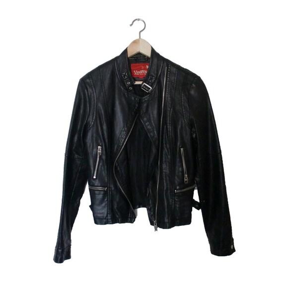Black Faux Leather Jacket - Vintage Moto Zip Jacket