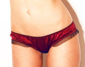 Etsy Sale, Georgie Peek a boo Red Silk satin panties - Christmas Holiday gift, Ouvert panties