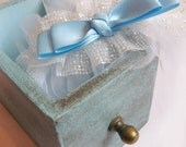 Alice Silk Tulle & Silver shimmer Wedding Garter - Blue Bridal Garters