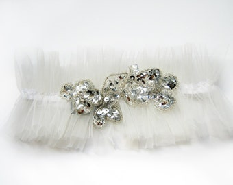 Boho bride ivory Wedding garter with silver sequines and tulle