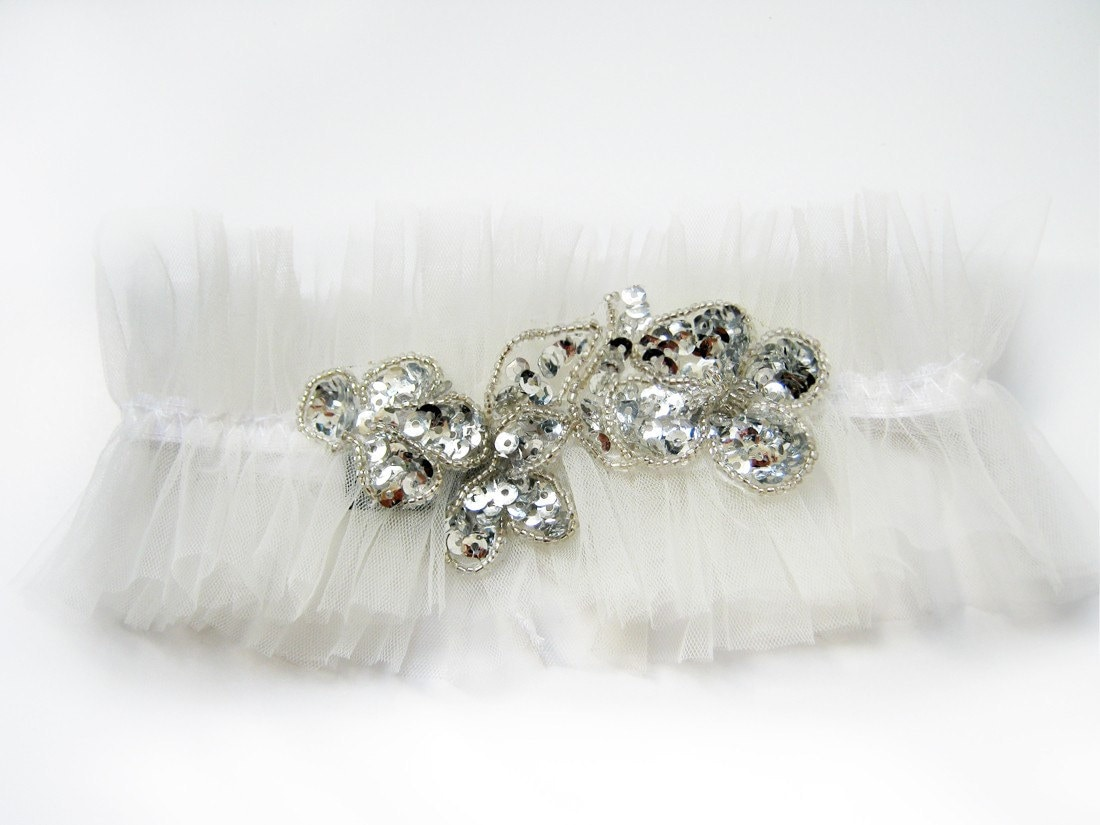 Boho bride ivory wedding garter with silver sequines and tulle for Garter under wedding dress