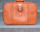1970's Suitcase Pumpkin Orange World Traveler