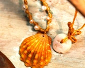 Rare Orange Sunrise Shell neckalce