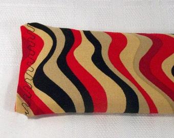 Eye Pillow - Wavy Red/Black/Brown Stripe
