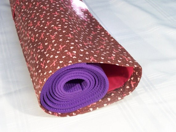 Yoga Mat Carrier - Cancer Ribbons with Brown Ground