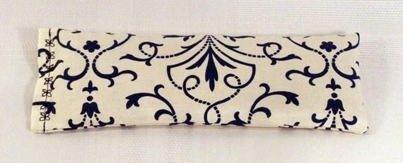Eye Pillow - Blue Lattice on White