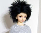 8/9 Black Faux (Fake) Fur Wig for SD Boy and Girl BJDs