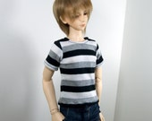 SD, SD13 T Shirt - Black, Grey, White Striped - for Boy BJD - Fits Girl Dolls Loosely
