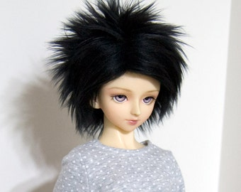 8/9 Black Faux (Fake) Fur Wig for SD Boy and Girl BJDs