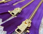 7inch - Purple Metal Zipper - Gold Teeth - 5pcs