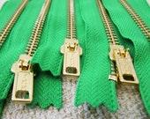 7inch - KellyGreen Metal Zipper - Gold Teeth - 5pcs