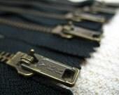 14inch - Black Metal Zipper - Brass Teeth - 5pcs