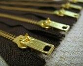 12inch - Dark Chocolate Brown Metal Zipper - Gold Teeth - 5pcs