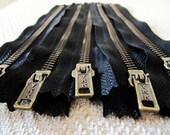7inch - Black Metal Zipper - Brass Teeth - 5pcs