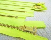 12inch - Neon Yellow Metal Zipper - Gold Teeth - 5pcs