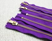 12inch - Purple Metal Zipper - Gold Teeth - 5pcs
