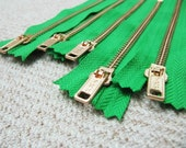 6inch - KellyGreen Metal Zipper - Gold Teeth - 5pcs