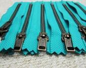 4inch - Turquoise Metal Zipper - Brass Teeth - 6pcs