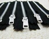 4inch - Black Metal Zipper - Silver Teeth - 6pcs