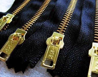 7inch - Black Metal Zipper - Gold Teeth - 5pcs