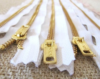 12inch - White Metal Zipper - Gold Teeth - 5pcs