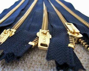 7inch - Navy Blue Metal Zipper - Gold Teeth - 5pcs