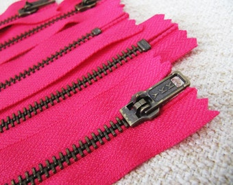 7inch - Fuchsia Pink Metal Zipper - Brass Teeth - 5pcs