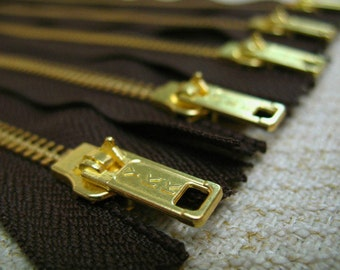 12inch - Dark Chocolate Brown Metal Zipper - Gold Teeth - 5pcs