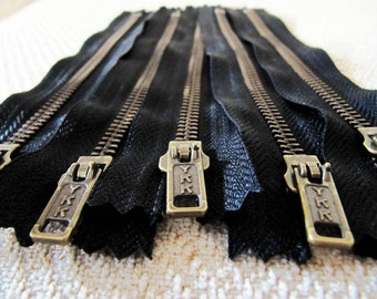 7inch - Black Metal Zipper - Brass Teeth - 5pcs