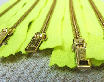 8inch - Neon Yellow Metal Zipper - Gold Teeth - 5pcs