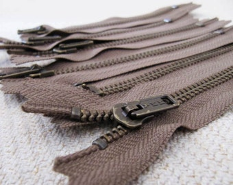 5inch - Walnut Brown Metal Zipper - Brass Teeth - 6pcs