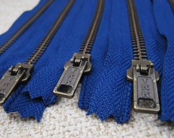 5inch - Midnight Blue Metal Zipper - Brass Teeth - 6pcs