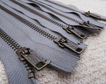 5inch - SmokeGrey Metal Zipper - Brass Teeth - 6pcs