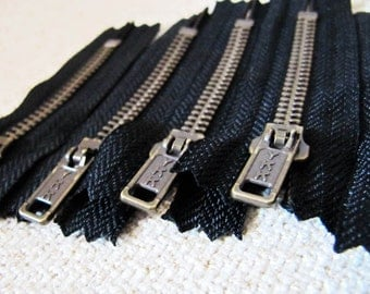 3inch - Black Metal Zipper - Brass Teeth - 6pcs