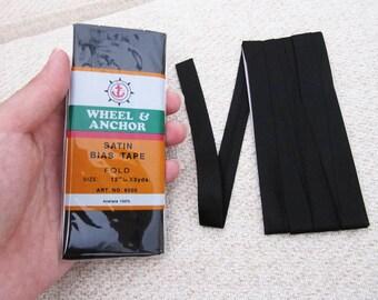 Satin Bias Tape - Black