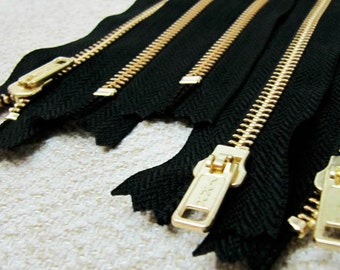 14inch - Black Metal Zipper - Gold Teeth - 5pcs