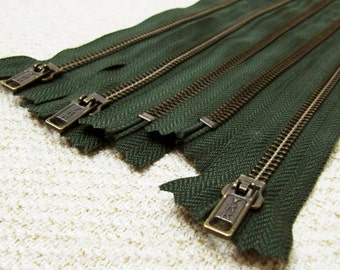 14inch - Forest Green Metal Zipper - Brass Teeth - 5pcs