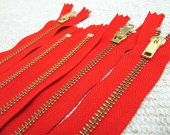 16inch - Hot Red Metal Zipper - Gold Teeth - 5pcs
