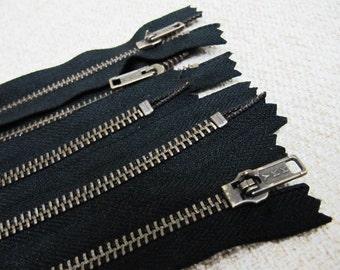 10inch - Black Metal Zipper - Brass Teeth - 5pcs