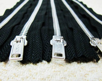 12inch - Black Metal Zipper - Silver Teeth - 5pcs