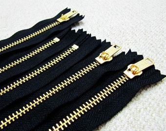 16inch - Black Metal Zipper - Gold Teeth - 5pcs