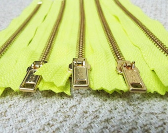 6inch - Neon Yellow Metal Zipper - Gold Teeth - 5pcs