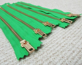 8inch - KellyGreen Metal Zipper - Gold Teeth - 5pcs