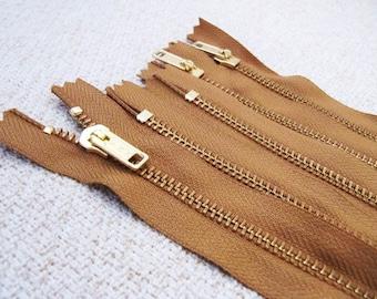14inch - Chestnut Brown Metal Zipper - Gold Teeth - 5pcs