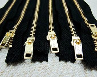 5inch - Black Metal Zipper - Gold Teeth - 6pcs