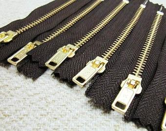 4inch - Dark Chocolate Brown Metal Zipper - Gold Teeth - 6pcs