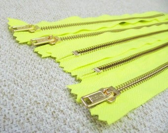 10inch - Neon Yellow Metal Zipper - Gold Teeth - 5pcs